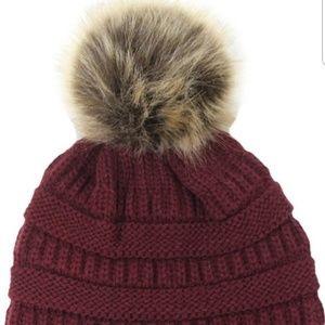 Burgandy Pom Hat